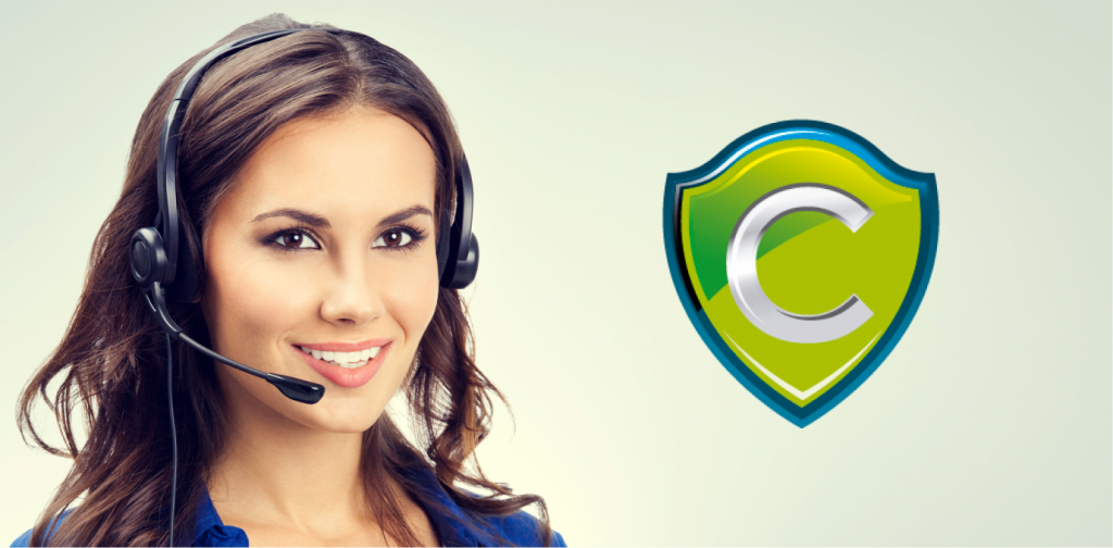 A woman wearing a headset on the left with the Codeproof logo on the right.