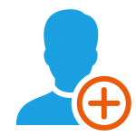 Icon depicting onboarding by showing an orange plus superimposed over a blue man