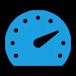 A blue speedometer